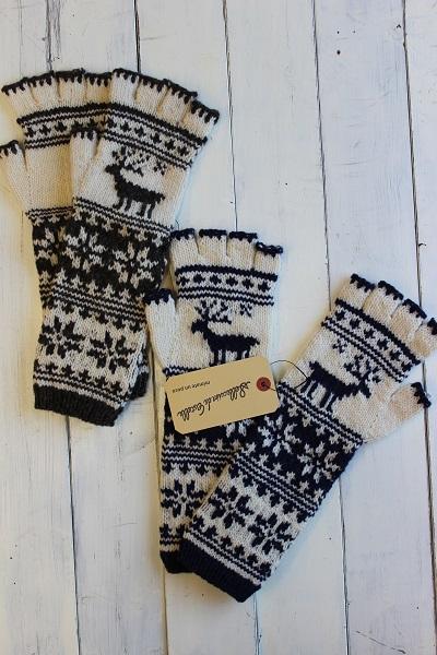 画像1: ペルーニットトナカイ柄ロング手袋 2色