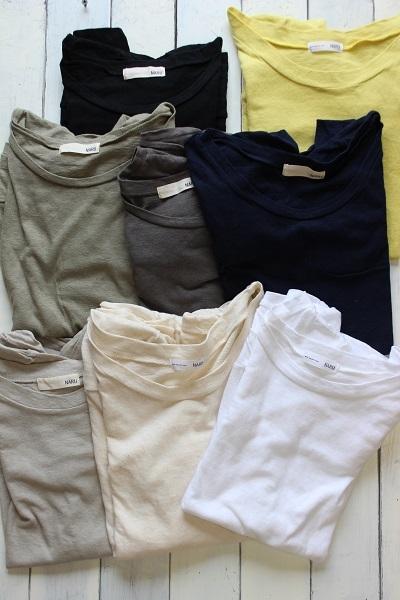 画像1: ムラ糸リサイクル天竺7分袖カットソー 8色
