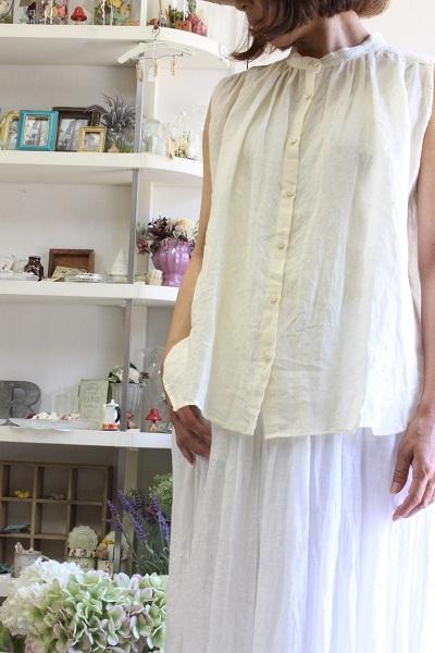 画像1: nachukara  Linen Stand Collar Sleeveless Shirt  Yellow