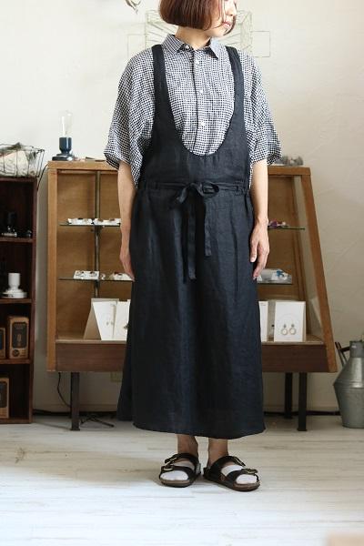 画像1: bluewillow リネンへリンボンジャンバースカート