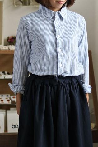 画像1: ichi コットンリネンレギュラーシャツ ストライプ3色