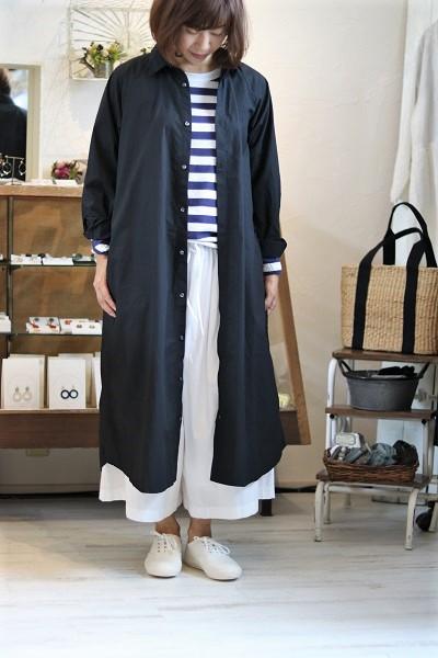 画像1: ichi コットンタイプライターシャツワンピース 2色