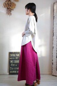 tumugu スープレコットン天竺裾ラウンド7分袖ロングT 2色