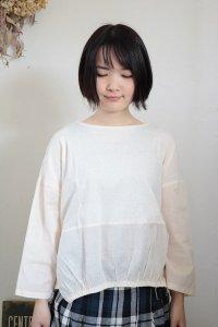 NARU ムラ糸リサイクル天竺×ボイルガーゼ袖・裾切替ワイドプルオーバー 2色