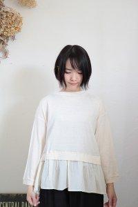 NARU コットンムラ糸天竺×ブロード 裾切替カットソー 3色