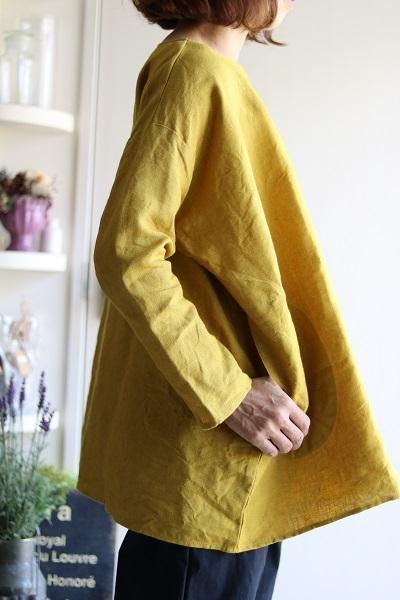 画像1: リネンビックシルエットプルオーバーシャツ 2色 (nachukara)