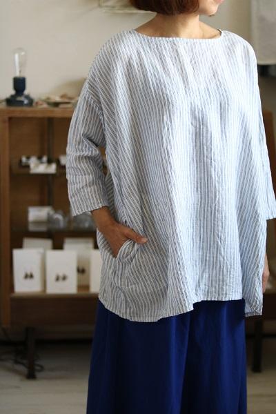 画像1: nachukara リネンストライププルオーバーシャツ White×Blue