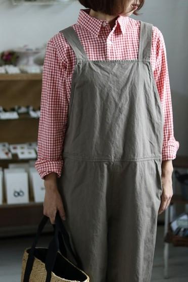 画像1: ichi コットンリネンレギュラーシャツ ギンガムチェック3色