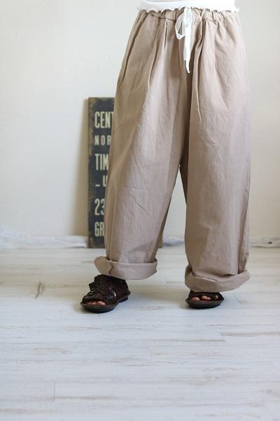 画像1: Gauze# G225 ウェザーコットンルーミーロングパンツ 2色