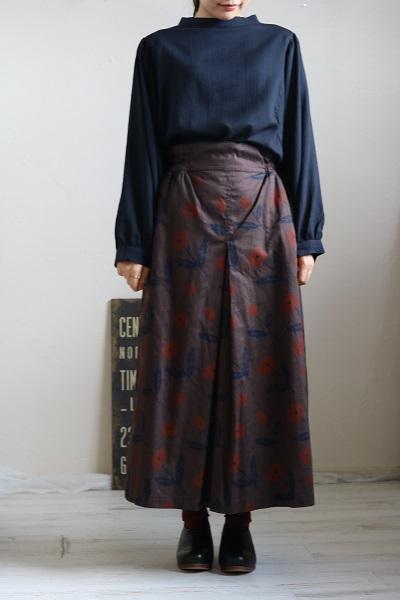 画像2: tumugu チノフラワープリントスカート 2色