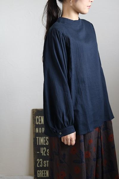 画像1: nachukara コットンウールビエラスリーブギャザーシャツプルオーバー
