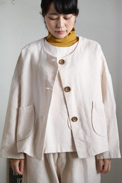 画像1: tumugu ビッグへリンボンジャガードはおりジャケット 2色