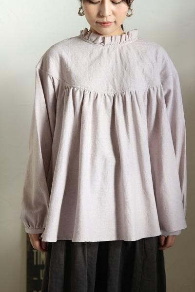 画像1: tumugu コットンリネンキルトプルオーバーシャツ 2色