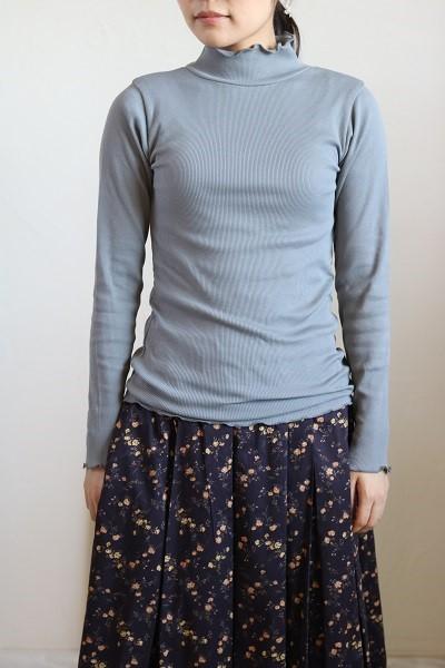 画像1: tumugu コットンピマテレコハイネック長袖 4色