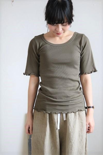 画像1: tumugu コットンピマテレコUネック半袖 6色