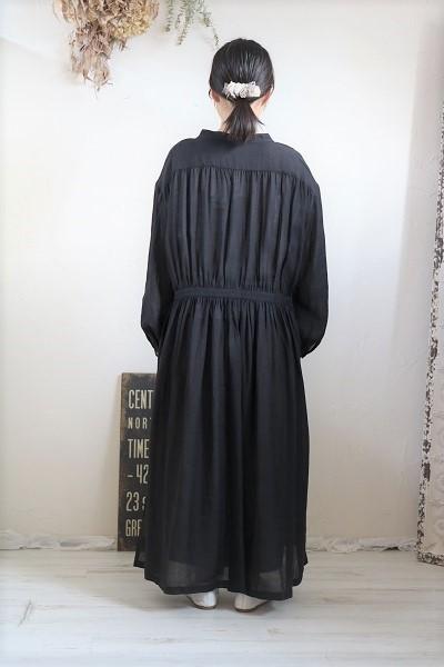 画像5: nachukara リネンギャザーシャツワンピース black