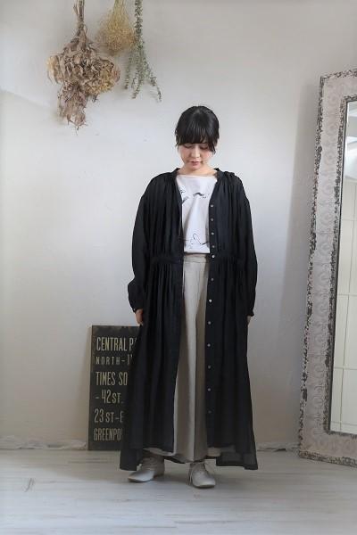 画像2: nachukara リネンギャザーシャツワンピース black