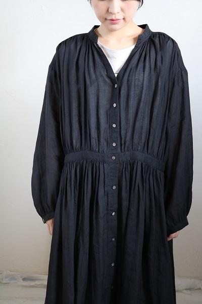 画像3: nachukara リネンギャザーシャツワンピース black