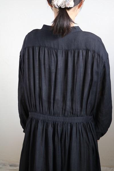 画像4: nachukara リネンギャザーシャツワンピース black