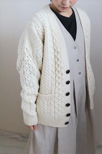画像1: aran wool mills Vネックアランニットカーデ