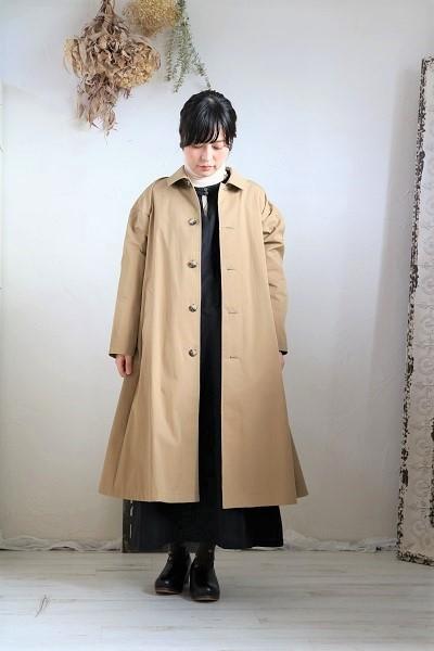 画像1: Le minor 高密度ギャバステンカラーコート  BEIGE