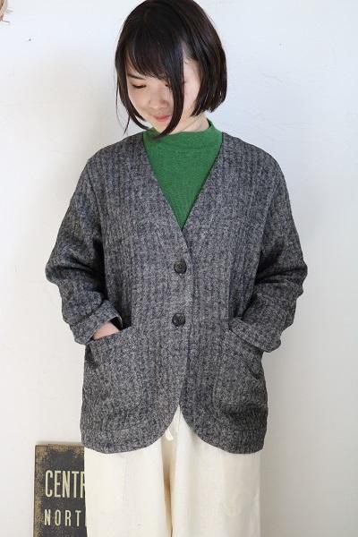 画像1: nachukara リネンウールネッピングノーカラージャケット 2色