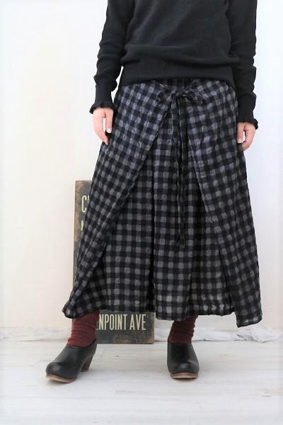 画像1: tumugu コットンウールギンガムチェック2WAYスカート