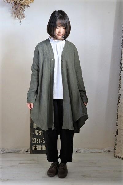 画像1: nachukara リネンヘリンボンドレープロングシャツ