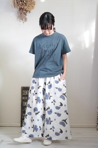 画像1: tumugu リネンフラワープリントワイドパンツ
