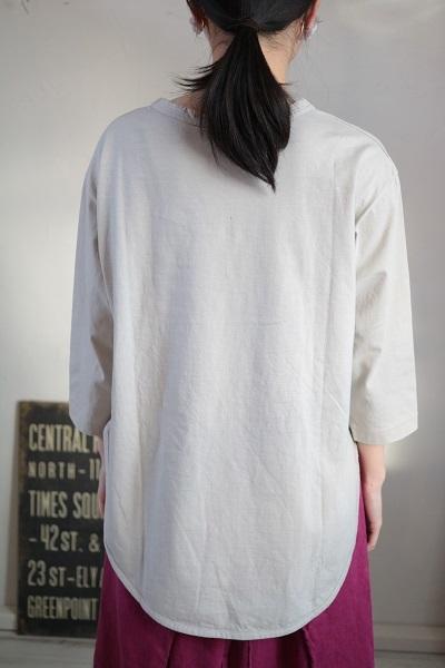 画像4: tumugu スープレコットン天竺裾ラウンド7分袖ロングT 2色