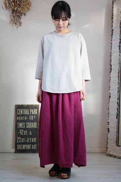 画像5: tumugu スープレコットン天竺裾ラウンド7分袖ロングT 2色