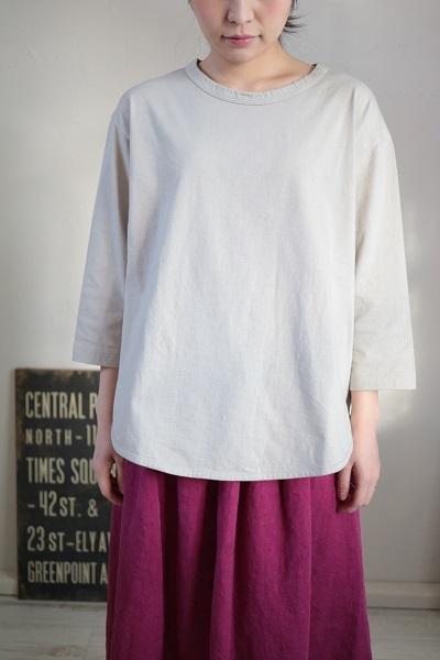 画像3: tumugu スープレコットン天竺裾ラウンド7分袖ロングT 2色