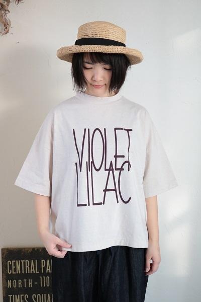 画像1: tumugu ラフィ天竺プリントT - VIOLET LILAC- 4色
