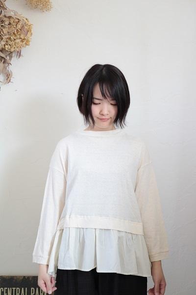 画像1: NARU コットンムラ糸天竺×ブロード 裾切替カットソー 3色