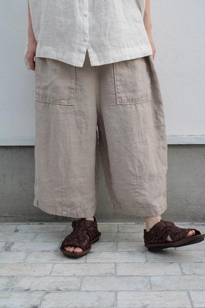 画像1: tumugu ソリトリネン(1)8分丈パンツ 3色