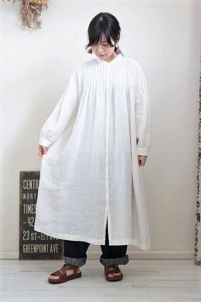 画像1: SOIL バンドカラーピンタックドレス