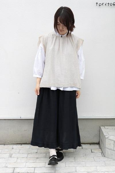 画像1: tukuroi 15綿麻×14リネンガーゼサイドリボンベスト 3色