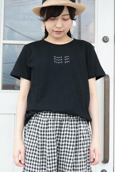 画像1: ICHI 刺繍 Thank you Tシャツ 2色