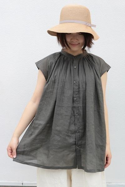 画像1: ICHI ピンタックフレンチスリーブシャツ 3色