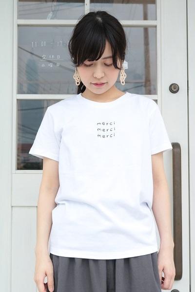 画像1: ICHI 刺繍 merci Tシャツ 2色