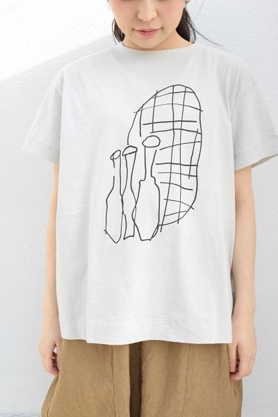 画像1: tumugu ハイゲージ天竺プリント花瓶柄プリントTシャツ 3色
