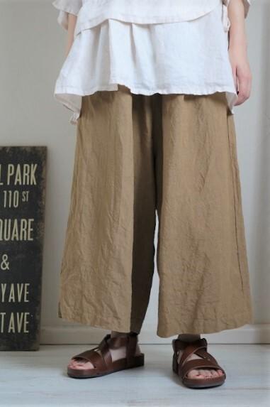 画像1: Gauze# リネンルーミーパンツ 3色