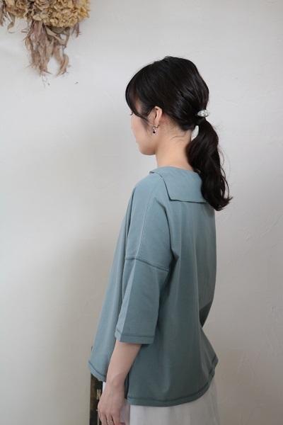 画像1: nachukara コットンセーラーカラー7分袖プルオーバー 4色