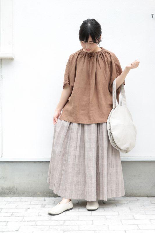 画像1: 綿麻リネン グレンチェック&ダンガリースカート2色